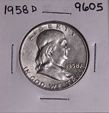 1958 Half Dollar Value Chart 1958 D Franklin Half Dollar Liberty Bell Coin Value Prices