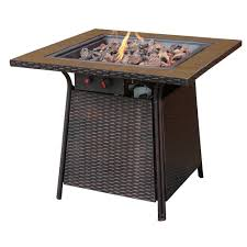 uniflame bronze faux wicker 32 in propane gas fire pit with ceramic tile surround