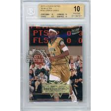 According to pwcc marketplace, a signed 2003 james exquisite collection patch rookie card. Lebron James 2013 14 Fleer Retro 95 96 Ultra Basketball Card Bgs 10 Pristine Steel City Collectibles