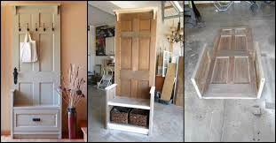 if you happen to have an old door just standing in your garage or work then this project might be a practical way to reuse it this entry bench is made