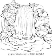 Waterfall Coloring Page Children Adults Pattern Stock Illustration