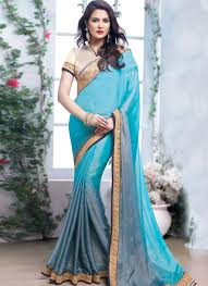 Colors To Wear With Light Blue Exquisite Light Blue Color Party Wear Saree