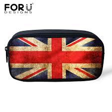 forudesigns retro kids boys s pencil case fashion women cosmetic bag uk usa flag print child