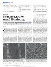 (PDF) Metallurgy: <b>No more</b> tears for metal 3D <b>printing</b>