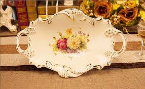 Decorative Serving Trays With Handles Vintage Ceramic Pedestal Serving Tray with Two Handles Decorative 82