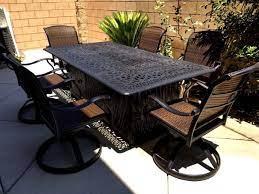 propane fire pit table set 7 piece cast