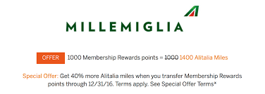 Alitalia Millemiglia Award Chart Redeem 58 000 Mr Points For Roundtrip Business Class To Italy