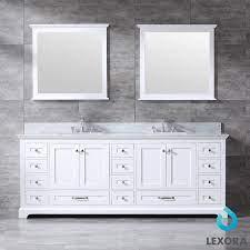 Lexora Dukes 84 White Double Bath Vanity White Carrera Marble Top