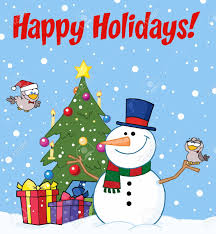 Holidays Snowman Happy Holidays Greeting With A Snowman And Cute Birds Royalty Free