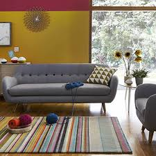 Stonehouse Tula Colourful Living Room With Grey Sofa Retro Style Living  Rooms