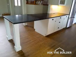 here s another view of linda s countertop that s a wide expanse of unsupported granite how many pounds of weight loaded in the center do you feel it will