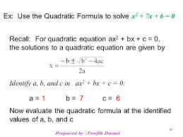 38 ex use the quadratic formula to solve x 2