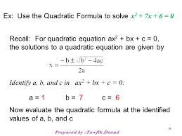 example solve using the quadratic formula 37 38 ex