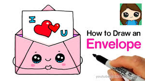Cute Love Letters How To Draw A Love Letter In A Cute Envelope Easy Youtube