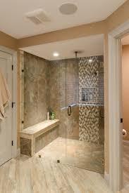 Shower Ideas - large tile shower with custom shower seat, vertical accent  tile strip,