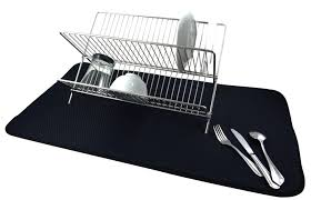 envision home black microfiber jumbo dish drying mat 18 x 32 inch com
