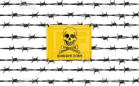 Stop sign danger zone on barbed wire fence Royalty Free Vector Clip