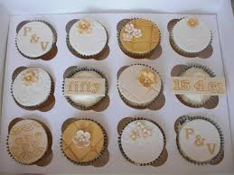 Golden Wedding Anniversary Cupcake Ideas