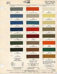 Color Pallet From Ditzler Automotive Group For 1969 Plymouth