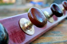 Knob Coat Rack 100s Purpleheart Wood Door Knob Coat Rack One of a Kind Lynchpin 54