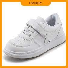 Giày trắng cho bé trai bé gái học sinh tiểu trung học quai dán da mềm thời  trang - Giày thể thao bé trai