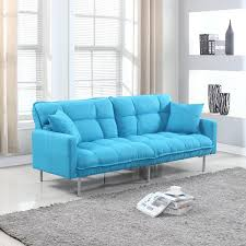 pcs turquoise blue sofa awesome amazoncom modern plush tufted linen fabric sleeper futon kitchen amp d