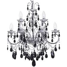 9lt bathroom chandelier w black acrylic droplet pendant light ip44 litecraft