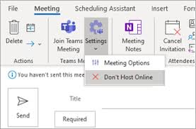 schedule a teams meeting from outlook