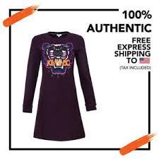 Kenzo Size Chart Details About Nwt Authentic Kenzo Paris Women Prune Tiger Sweatshirt Dress Cotton Size S Pique
