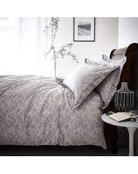 duvet cover set king size sprig cotton jacquard grey