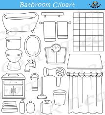 bathroom clipart black and white