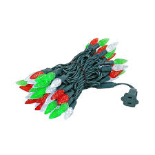 Led Red Green White Christmas Lights Red Green White 70 Led C6 Strawberry Mini Lights Commercial Grade Green Wire