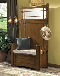 Oak Hall Tree Storage Bench Mirror With Baskets Mini And. Hall Tree ...