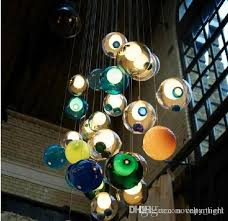 colorful glass ball lamp g4 led chandelier of colorful glass spheres modern lamp color bubble led crystal chandeliers for dining room living canada 2019