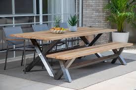 Outdoor patio ibiza teak top table bench 3 chairs