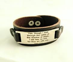 men s engraved wide scripture leather and stainless steel bracelet