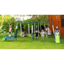 sportspower mountain view metal swing set with slide and
