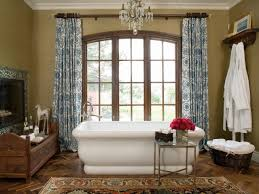 Bathrooms  Traditional Bathroom With White Bathtub And Patterned - Modern bathroom chandeliers