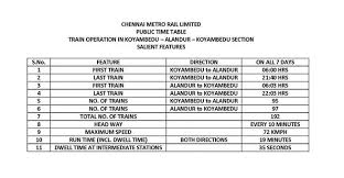 Chennai Metro Fare Chart Chennai Metro Train Timings Alandur Koyembedu Irctc Co