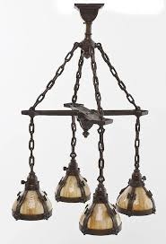 arts crafts slag glass hanging light by corr auctions appraisals bidsquare