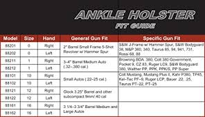 Uncle Mikes Holster Chart Uncle Mikes Off Duty And Concealment Kodra Nylon Ankle Holster