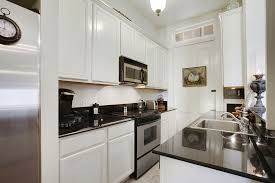 Small white kitchens with white appliances Fixer Up Hgtv Small Black And White Galley Kitchen With Traditional White Raised Panel Cabinets And Black Counters Southern Living 23 Small Galley Kitchens design Ideas Designing Idea