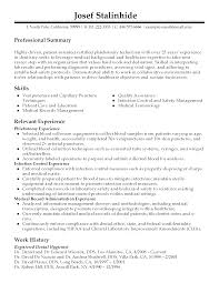 Phlebotomy Technician Resume Resume For Your Job Application