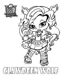 monster high baby coloring pages. Contemporary Pages Wonderful Baby Monster High Coloring Pages To Print Clawdeen By  JadeDragonne On For