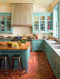 Teal kitchen in duplex traditional-kitchen