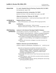 Resume Pediatric Nurse Judith New Resume October 2016