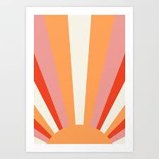 sunrise sunset sun print printed wall