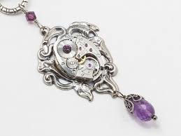 steampunk necklace watch movement cog amethyst purple crystal art nouveau silver flower leaf filigree pendant steampunk