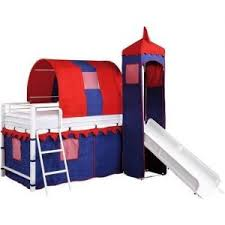 loft with slide. castle tent twin loft bed slide playhouse w under storage red white \u0026 blue with
