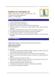 ... MAINTENANCE ENGINEER. R E S U M E MANOLO M. GUANZON JR. Address: Al  Mirfa Power Co., ...